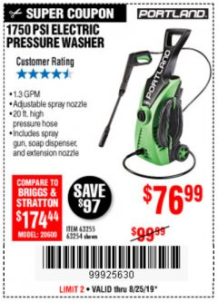 Harbor Freight Coupon 1750 PSI ELECTRIC PRESSURE WASHER Lot No. 63254/63255 Expired: 8/25/19 - $76.99