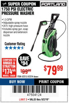 Harbor Freight Coupon 1750 PSI ELECTRIC PRESSURE WASHER Lot No. 63254/63255 Expired: 9/2/19 - $79.99
