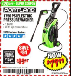 Harbor Freight Coupon 1750 PSI ELECTRIC PRESSURE WASHER Lot No. 63254/63255 Expired: 10/31/19 - $79.99