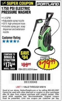 Harbor Freight Coupon 1750 PSI ELECTRIC PRESSURE WASHER Lot No. 63254/63255 Expired: 9/30/19 - $79.99