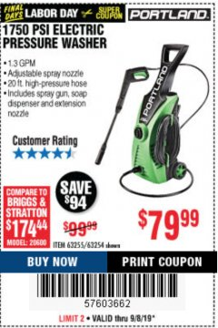 Harbor Freight Coupon 1750 PSI ELECTRIC PRESSURE WASHER Lot No. 63254/63255 Expired: 9/8/19 - $79.99