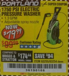 Harbor Freight Coupon 1750 PSI ELECTRIC PRESSURE WASHER Lot No. 63254/63255 Expired: 1/9/20 - $79.99