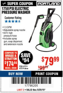 Harbor Freight Coupon 1750 PSI ELECTRIC PRESSURE WASHER Lot No. 63254/63255 Expired: 9/29/19 - $79.99