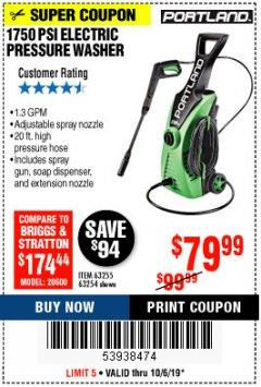 Harbor Freight Coupon 1750 PSI ELECTRIC PRESSURE WASHER Lot No. 63254/63255 Expired: 10/6/19 - $79.99
