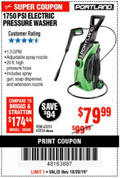 Harbor Freight Coupon 1750 PSI ELECTRIC PRESSURE WASHER Lot No. 63254/63255 Expired: 10/20/19 - $79.99