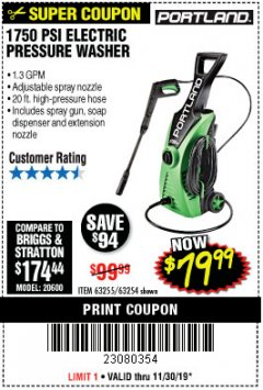 Harbor Freight Coupon 1750 PSI ELECTRIC PRESSURE WASHER Lot No. 63254/63255 Expired: 11/30/19 - $79.99