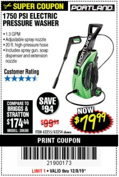 Harbor Freight Coupon 1750 PSI ELECTRIC PRESSURE WASHER Lot No. 63254/63255 Expired: 12/8/19 - $79.99