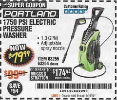 Harbor Freight Coupon 1750 PSI ELECTRIC PRESSURE WASHER Lot No. 63254/63255 Expired: 1/10/20 - $79.99