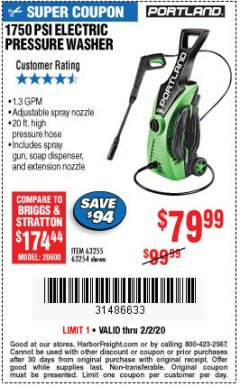 Harbor Freight Coupon 1750 PSI ELECTRIC PRESSURE WASHER Lot No. 63254/63255 Expired: 2/2/20 - $79.99