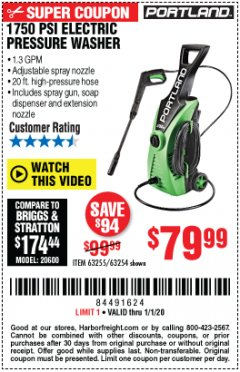 Harbor Freight Coupon 1750 PSI ELECTRIC PRESSURE WASHER Lot No. 63254/63255 Expired: 1/1/20 - $79.99