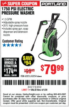 Harbor Freight Coupon 1750 PSI ELECTRIC PRESSURE WASHER Lot No. 63254/63255 Valid Thru: 4/1/20 - $79.99