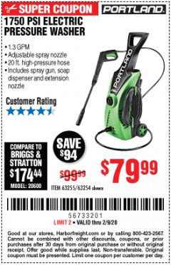 Harbor Freight Coupon 1750 PSI ELECTRIC PRESSURE WASHER Lot No. 63254/63255 Expired: 2/9/20 - $79.99