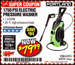 Harbor Freight Coupon 1750 PSI ELECTRIC PRESSURE WASHER Lot No. 63254/63255 Valid Thru: 3/31/20 - $79.99