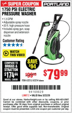 Harbor Freight Coupon 1750 PSI ELECTRIC PRESSURE WASHER Lot No. 63254/63255 Expired: 3/22/20 - $79.99