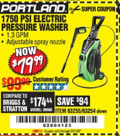 Harbor Freight Coupon 1750 PSI ELECTRIC PRESSURE WASHER Lot No. 63254/63255 Expired: 6/21/20 - $79.99