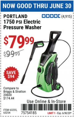 Harbor Freight Coupon 1750 PSI ELECTRIC PRESSURE WASHER Lot No. 63254/63255 Expired: 6/30/20 - $79.99
