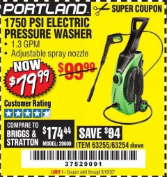 Harbor Freight Coupon 1750 PSI ELECTRIC PRESSURE WASHER Lot No. 63254/63255 Expired: 8/19/20 - $79.99