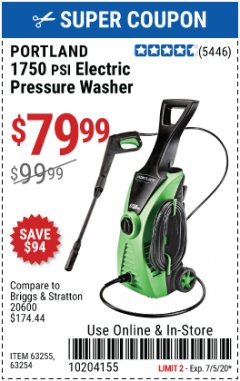 Harbor Freight Coupon 1750 PSI ELECTRIC PRESSURE WASHER Lot No. 63254/63255 Expired: 7/5/20 - $79.99