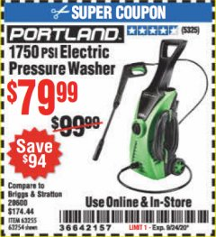 Harbor Freight Coupon 1750 PSI ELECTRIC PRESSURE WASHER Lot No. 63254/63255 Expired: 9/24/20 - $79.99