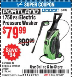 Harbor Freight Coupon 1750 PSI ELECTRIC PRESSURE WASHER Lot No. 63254/63255 Expired: 10/16/20 - $79.99