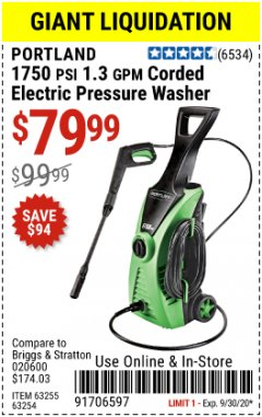Harbor Freight Coupon 1750 PSI ELECTRIC PRESSURE WASHER Lot No. 63254/63255 Expired: 9/30/20 - $79.99