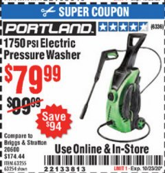 Harbor Freight Coupon 1750 PSI ELECTRIC PRESSURE WASHER Lot No. 63254/63255 Expired: 10/23/20 - $79.99