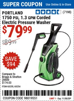 Harbor Freight Coupon 1750 PSI ELECTRIC PRESSURE WASHER Lot No. 63254/63255 Expired: 11/30/20 - $79.99
