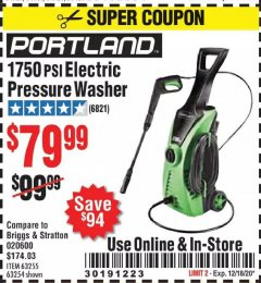 Harbor Freight Coupon 1750 PSI ELECTRIC PRESSURE WASHER Lot No. 63254/63255 Expired: 12/18/20 - $79.99