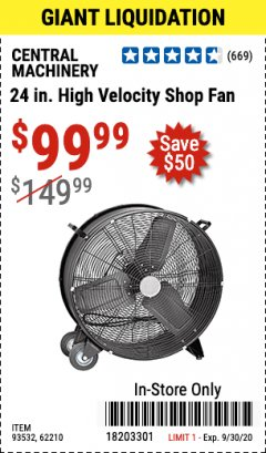 "Harbor Freight Coupon 24"" HIGH VELOCITY SHOP FAN Lot No. 62210/56742/93532 Expired: 9/30/20 - $99.99"