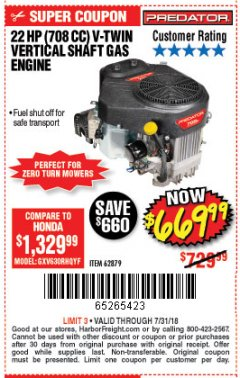 Harbor Freight Coupon PREDATOR 22 HP (708 CC) V-TWIN VERTICAL SHAFT ENGINE Lot No. 62879 Expired: 7/31/18 - $669.99