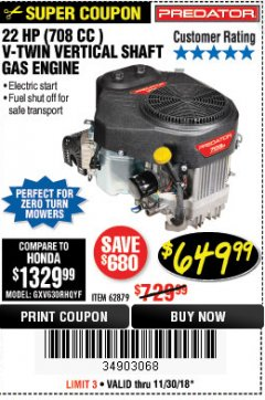 Harbor Freight Coupon PREDATOR 22 HP (708 CC) V-TWIN VERTICAL SHAFT ENGINE Lot No. 62879 Expired: 11/30/18 - $649.99