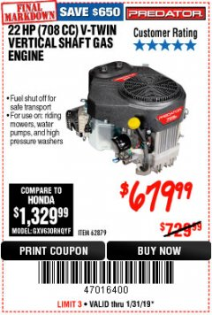 Harbor Freight Coupon PREDATOR 22 HP (708 CC) V-TWIN VERTICAL SHAFT ENGINE Lot No. 62879 Expired: 1/31/19 - $679.99