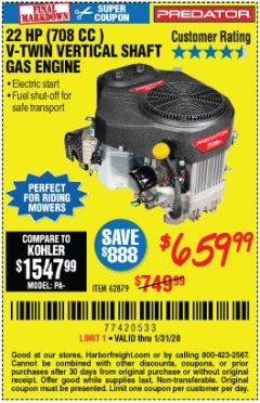 Harbor Freight Coupon PREDATOR 22 HP (708 CC) V-TWIN VERTICAL SHAFT ENGINE Lot No. 62879 Expired: 1/31/20 - $659.99