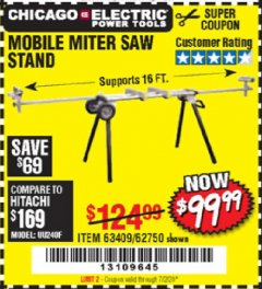 Harbor Freight Coupon CHICAGO ELECTRIC HEAVY DUTY MOBILE MITER SAW STAND Lot No. 63409/62750 Expired: 7/2/20 - $99.99