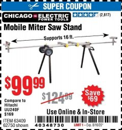 Harbor Freight Coupon CHICAGO ELECTRIC HEAVY DUTY MOBILE MITER SAW STAND Lot No. 63409/62750 Valid: 6/24/20 - 8/16/20 - $99.99