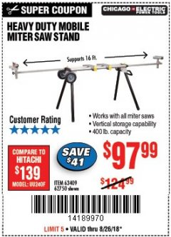 Harbor Freight Coupon CHICAGO ELECTRIC HEAVY DUTY MOBILE MITER SAW STAND Lot No. 63409/62750 Expired: 8/26/18 - $97.99