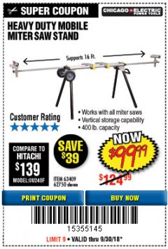 Harbor Freight Coupon CHICAGO ELECTRIC HEAVY DUTY MOBILE MITER SAW STAND Lot No. 63409/62750 Expired: 9/30/18 - $99.99
