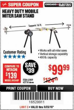 Harbor Freight Coupon CHICAGO ELECTRIC HEAVY DUTY MOBILE MITER SAW STAND Lot No. 63409/62750 Expired: 9/23/18 - $99.99