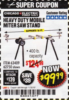 Harbor Freight Coupon CHICAGO ELECTRIC HEAVY DUTY MOBILE MITER SAW STAND Lot No. 63409/62750 Expired: 11/30/18 - $99.99