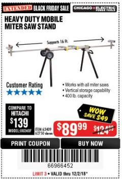 Harbor Freight Coupon CHICAGO ELECTRIC HEAVY DUTY MOBILE MITER SAW STAND Lot No. 63409/62750 Expired: 12/2/18 - $89.99