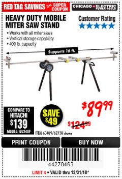 Harbor Freight Coupon CHICAGO ELECTRIC HEAVY DUTY MOBILE MITER SAW STAND Lot No. 63409/62750 Expired: 12/31/18 - $89.99