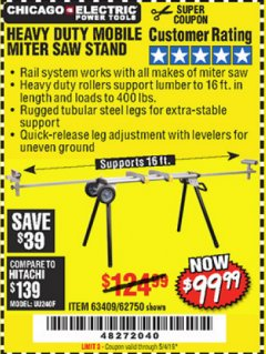Harbor Freight Coupon CHICAGO ELECTRIC HEAVY DUTY MOBILE MITER SAW STAND Lot No. 63409/62750 Expired: 5/4/19 - $99.99
