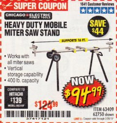 Harbor Freight Coupon CHICAGO ELECTRIC HEAVY DUTY MOBILE MITER SAW STAND Lot No. 63409/62750 Expired: 2/28/19 - $94.99