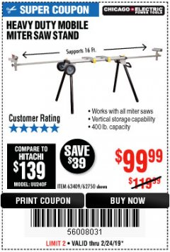 Harbor Freight Coupon CHICAGO ELECTRIC HEAVY DUTY MOBILE MITER SAW STAND Lot No. 63409/62750 Expired: 2/24/19 - $99.99