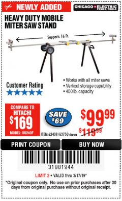 Harbor Freight Coupon CHICAGO ELECTRIC HEAVY DUTY MOBILE MITER SAW STAND Lot No. 63409/62750 Expired: 3/17/19 - $99.99
