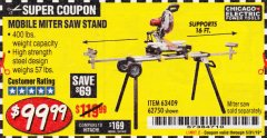 Harbor Freight Coupon CHICAGO ELECTRIC HEAVY DUTY MOBILE MITER SAW STAND Lot No. 63409/62750 Expired: 3/31/19 - $99.99