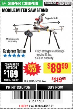 Harbor Freight Coupon CHICAGO ELECTRIC HEAVY DUTY MOBILE MITER SAW STAND Lot No. 63409/62750 Expired: 4/21/19 - $89.99