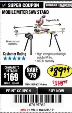 Harbor Freight Coupon CHICAGO ELECTRIC HEAVY DUTY MOBILE MITER SAW STAND Lot No. 63409/62750 Expired: 5/31/19 - $89.99