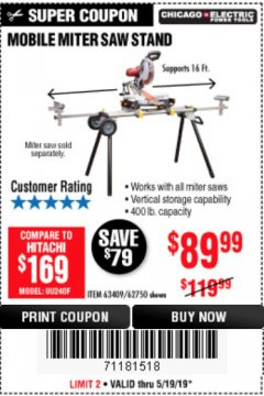 Harbor Freight Coupon CHICAGO ELECTRIC HEAVY DUTY MOBILE MITER SAW STAND Lot No. 63409/62750 Expired: 5/19/19 - $89.99
