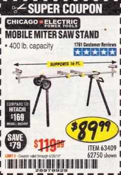 Harbor Freight Coupon CHICAGO ELECTRIC HEAVY DUTY MOBILE MITER SAW STAND Lot No. 63409/62750 Expired: 6/30/19 - $89.99